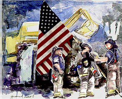 Painting - Dan George And Bill At Ground Zero 2001 by Elle Smith Fagan