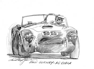 Sport Car Drawing - Dan Gurney Ac Cobra No. 99 by David Lloyd Glover
