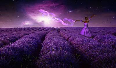 Fantasy Digital Art - Dance in a purple field by Mihaela Pater