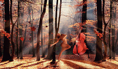 Surrealism Digital Art - Dance with a cello by Mihaela Pater