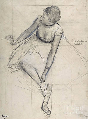 Drawing - Dancer Adjusting Her Shoe By Degas by Edgar Degas