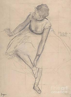 Drawing - Dancer Adjusting Her Slipper, 1873 by Edgar Degas