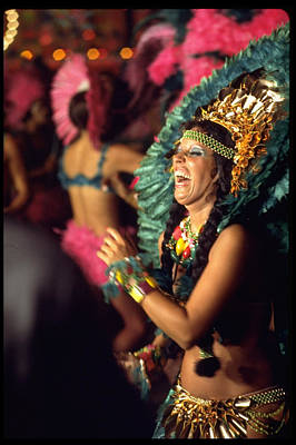 Photograph - Dancer Standing Out Amid Crowd Of Samba by Bill Ray