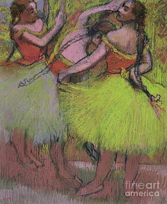 Pastel - Dancers With Hair In Braids by Edgar Degas