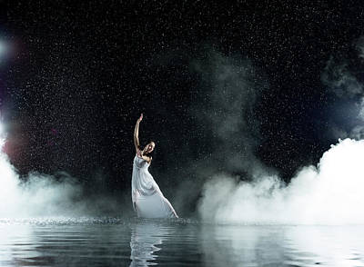 Photograph - Dancing Female In Water, Rainy And by Jonathan Knowles