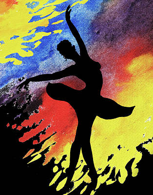 Painting - Dancing With Watercolor Ballerina Silhouette I by Irina Sztukowski
