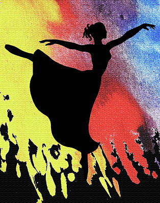 Painting - Dancing With Watercolor Ballerina Silhouette IIi by Irina Sztukowski