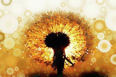 Mixed Media - Dandelion Sunrise by Susan Maxwell Schmidt
