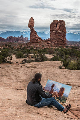 Photograph - Daniel Paints Balanced Rock by William Christiansen