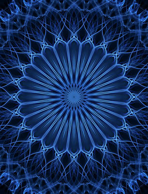 Digital Art - Dark And Light Blue Mandala by Jaroslaw Blaminsky