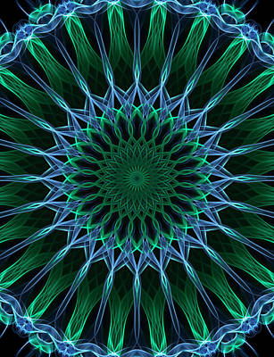 Digital Art - Dark Blue And Green Mandala by Jaroslaw Blaminsky