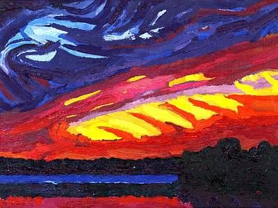 Painting - Dark Cherry Sunset by Phil Chadwick