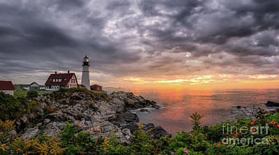 Photograph - Dark Clouds Over Portland Head Light  by Michael Ver Sprill