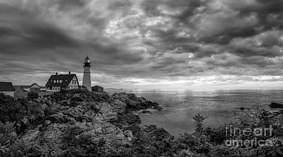 Photograph - Dark Clouds Over Portland Head Lighthouse by Michael Ver Sprill