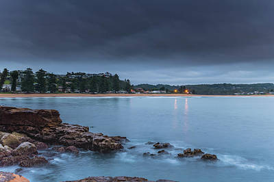 Photograph - Dark Cloudy Sunrise Seascape by Merrillie Redden
