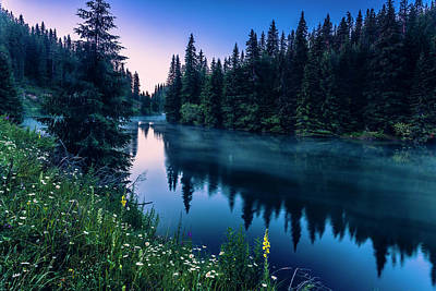 Mountain Royalty-Free and Rights-Managed Images - Dark Lake by Evgeni Dinev