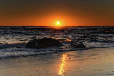 Photograph - Dark Orange Sunrise Seascape by Merrillie Redden