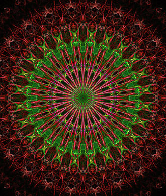 Digital Art - Dark Red And Green Mandala by Jaroslaw Blaminsky