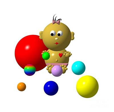Digital Art - Dark Skin Baby Girl With 8 Balls by Rose Santuci-Sofranko