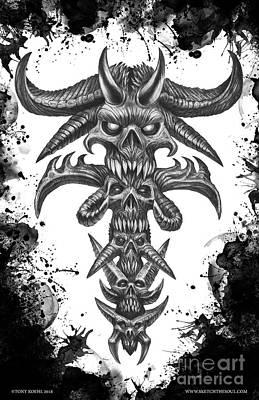 Tonykoehl Wall Art - Drawing - Dark Totem  by Tony Koehl