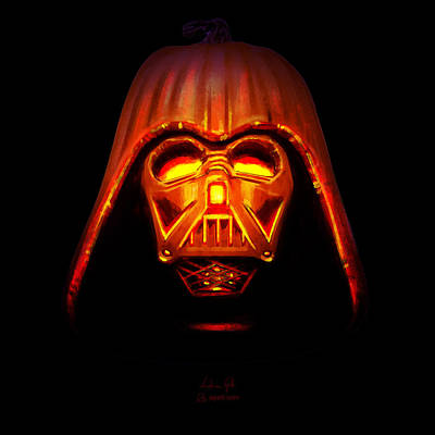 Digital Art - Darth Pumpkin Fire by Andrea Gatti