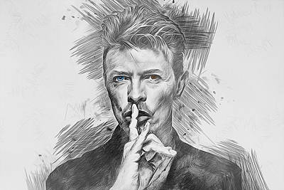 Musicians Drawings Rights Managed Images - David Bowie. Royalty-Free Image by Ian Mitchell