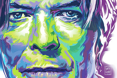 David Bowie Portrait In Aqua And Green Original