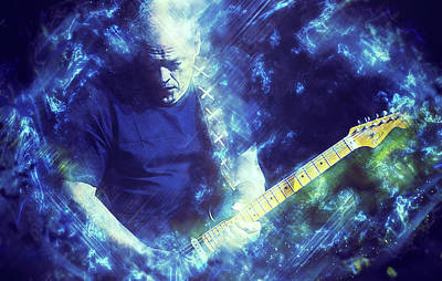 Painting - David Gilmour - 03 by Andrea Mazzocchetti