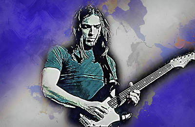 Painting - David Gilmour - 06 by Andrea Mazzocchetti