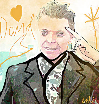 Musicians Drawings Rights Managed Images - David  R i P  Royalty-Free Image by Enki Art