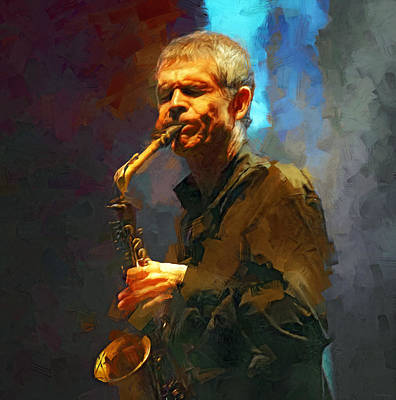 Jazz Mixed Media Royalty Free Images - David Sanborn Royalty-Free Image by Mal Bray