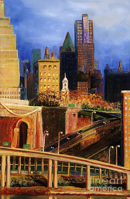 Painting - Dawn At City Hall by Donna Hall