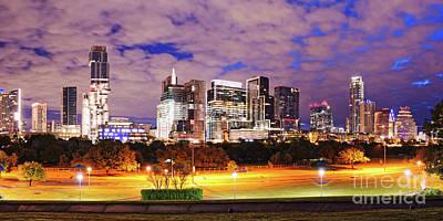 Photograph - Dawn Panorama Of Downtown Austin Skyline And Lady Bird Lake - Austin Texas by Silvio Ligutti