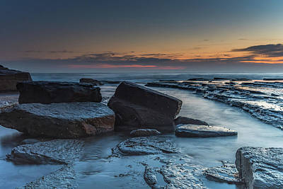 Photograph - Dawns Coastal Rock Shapes And Textures by Merrillie Redden