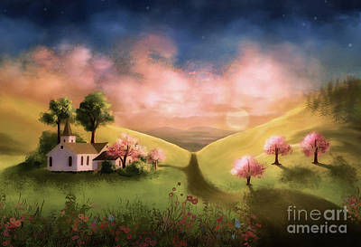 Digital Art - Day Begins In The Valley by Lois Bryan