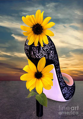 Photograph - Day Dreams  Sunflower Shoe by Sherry Little Fawn Schuessler
