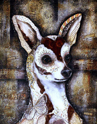 Mixed Media - Day Of The Dead Chihuahua by Patricia Lintner