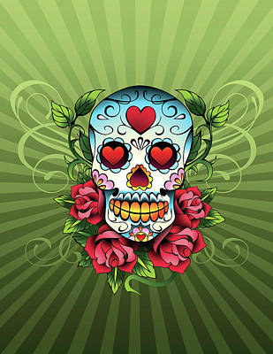 Day Of The Dead Skull Art Print by New Vision Technologies Inc