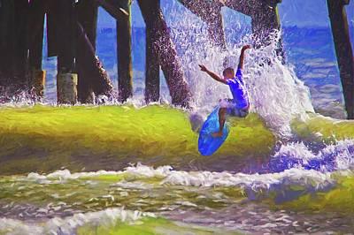 Photograph - Daytona Pier Proam Surfer by Alice Gipson