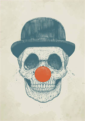 Ink Wall Art - Drawing - Dead Clown by Balazs Solti