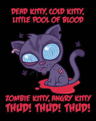 Animals Digital Art - Dead Cold Angry Zombie Kitty by John Schwegel