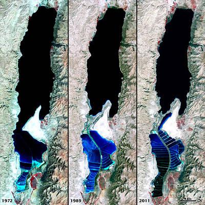 Photograph - Dead Sea Over 39 Years by NASA USGS Robert Simmon