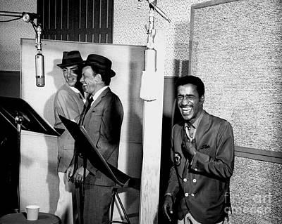 Frank Sinatra Wall Art - Photograph - Dean Martin, Frank Sinatra And Sammy Davis Jr. At Capitol Records Studios by The Titanic Project