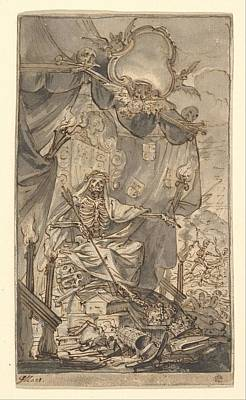Painting Royalty Free Images - Death on a Canopied Throne Design for a Title Page  Godfried Maes Antwerp 1649-1700 Antwerp Royalty-Free Image by MotionAge Designs
