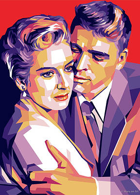 Starchips Poststamps - Deborah Kerr and Burt Lancaster by Stars on Art