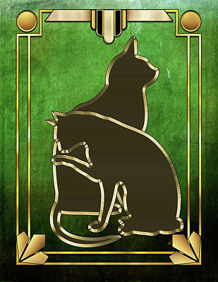 Digital Art - Deco Cats 3 by Chuck Staley