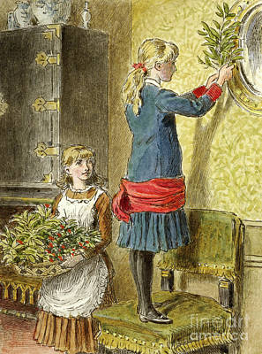 Painting - Decorating For Christmas by Alfred W Cooper