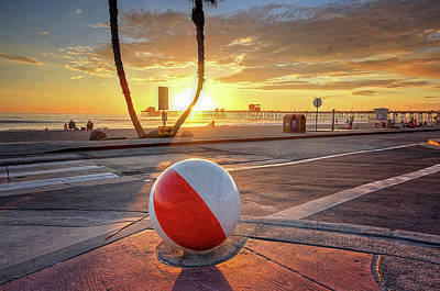 Pier Wall Art - Photograph - Decorative Beach Ball At Oceanside Pier by Ann Patterson