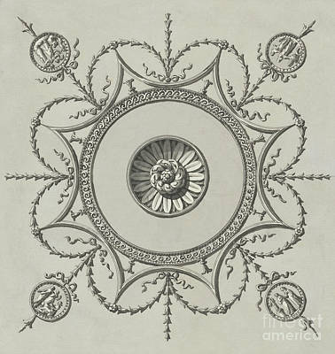 Drawing - Decorative Ceiling Medallion Design For The Ceiling Of The Staircase, Headfort House by Robert Adam