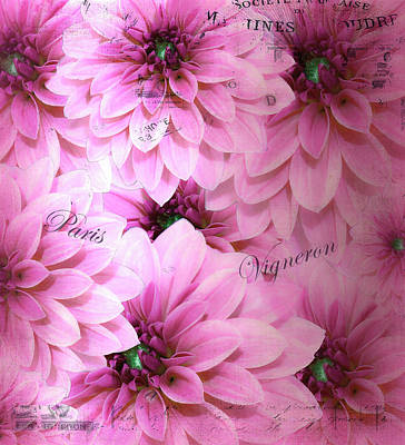 Mixed Media - Decorative Hot Pink Dahlias With Nostalgic Touch by Johanna Hurmerinta
